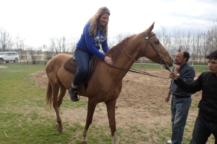 Vita enjoying her ride on Bandit