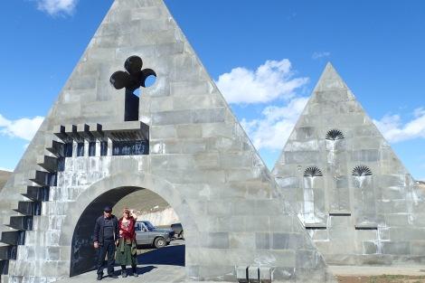 Albert and Jill at the Nagorno-Karabakh entrance monument